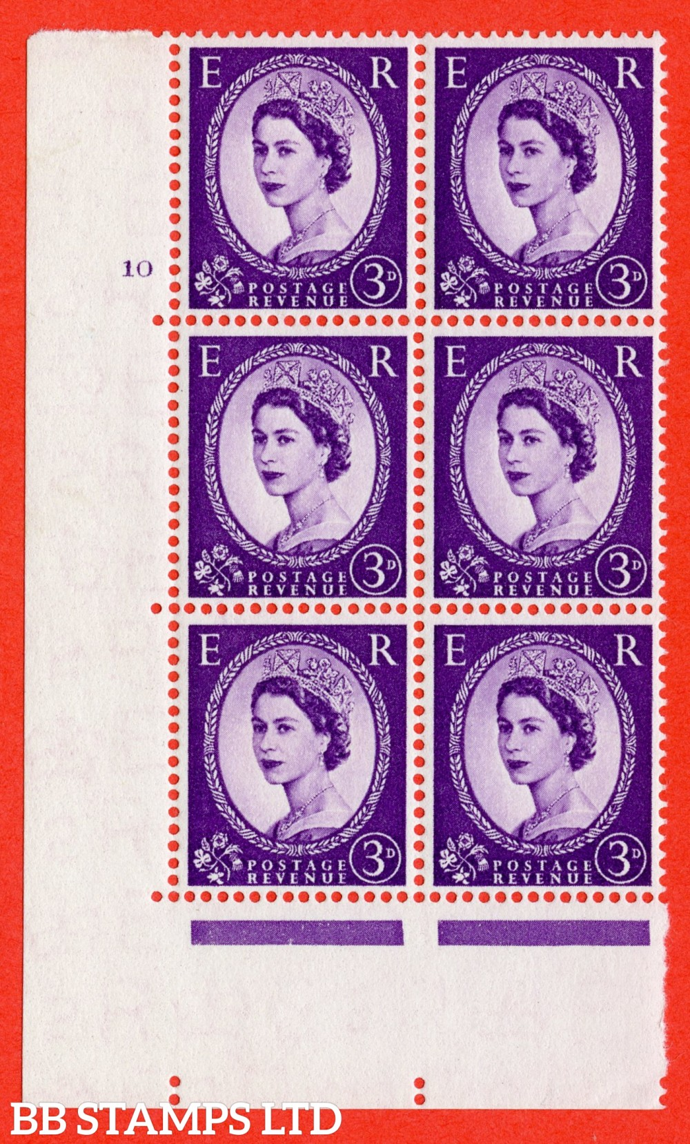 "SG. 545. S68. 3d. Deep - Lilac. A superb UNMOUNTED MINT "" cylinder 10 no dot "" control block of 6 with perf type A E/I."