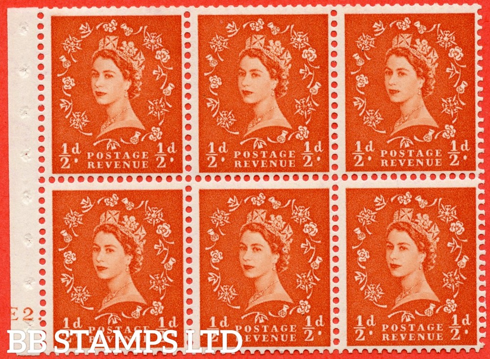 "SG. 515. SB1. ½d orange - red. A fine mounted mint cylinder "" E2 dot "" booklet pane of 6. Perf type (Ieb) with TRIMMED PERFS. Smooth edge."