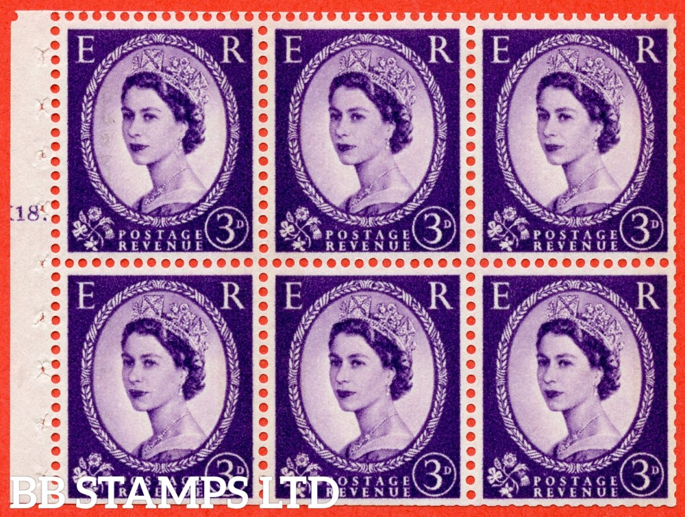 "SG. 615. SB103. 3d Deep Lilac. A fine UNMOUNTED MINT cylinder "" K18 T dot "" booklet pane of 6. Perf type (Iet) with TRIMMED PERFS. Smooth edge. White Paper."