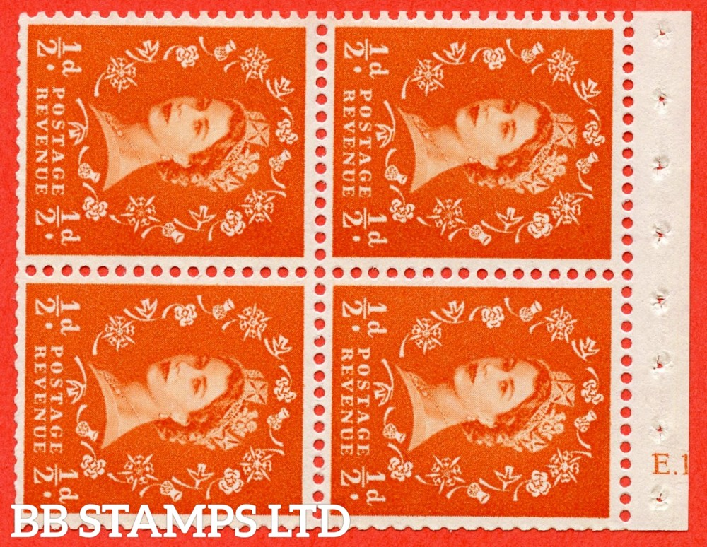 "SG. 570. SB10. ½d Orange Red. A fine UNMOUNTED MINT cylinder "" E.13  no dot "" booklet pane of 4. Perf type (I) with TRIMMED PERFS. Smooth edge. Cream paper."