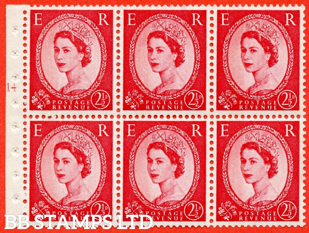 "SG. 614. SB89. 2½d Carmine Red Type II. A fine UNMOUNTED MINT cylinder "" J14 T no dot "" booklet pane of 6. Perf type (I) with GOOD PERFS. Smooth edge. White Paper."
