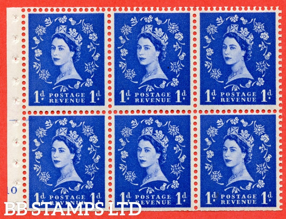 "SG. 611. SB41. 1d Ultramarine. A fine UNMOUNTED MINT cylinder "" F10 no dot "" booklet pane of 6. Perf type (I) with TRIMMED PERFS. Smooth edge. Cream Paper."
