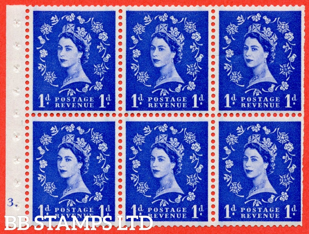"SG. 588. SB39. 1d Ultramarine. A fine mounted mint cylinder "" E3 dot "" booklet pane of 6. Perf type (Ieb) with TRIMMED PERFS. Smooth edge."