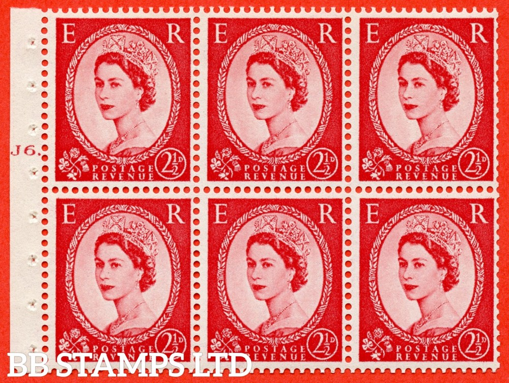 "SG. 544b. SB81. 2½d carmine - red. A fine UNMOUNTED MINT "" J6 T dot "" booklet pane of 6. Perf type (Ieb) with TRIMMED PERFS. Smooth edge."