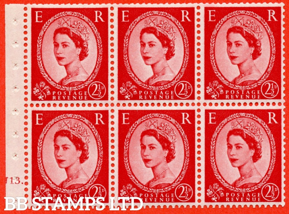 "SG. 574. SB82. 2½d Carmine Red Type II. A fine UNMOUNTED MINT cylinder "" J13 dot "" booklet pane of 6. Perf type (Iet) with TRIMMED PERFS. Smooth edge. Cream paper."