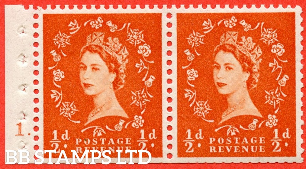 "SG. 515. SB3. ½d orange - red. A fine UNMOUNTED MINT "" cylinder 1 dot ""  booklet pane of 2. Perf type (E) with TRIMMED PERFS. Smooth edge."