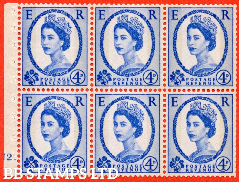 "SG. 616a. SB111. 4d Deep Ultramarine. A fine UNMOUNTED MINT cylinder "" N2 dot "" booklet pane of 6. Perf type (Iet) with GOOD PERFS. Smooth edge."