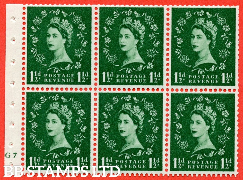 "SG. 542. SB62. 1½d green. A fine UNMOUNTED MINT cylinder "" G7 no dot "" booklet pane of 6. Perf type (I) with TRIMMED PERFS. Smooth edge."