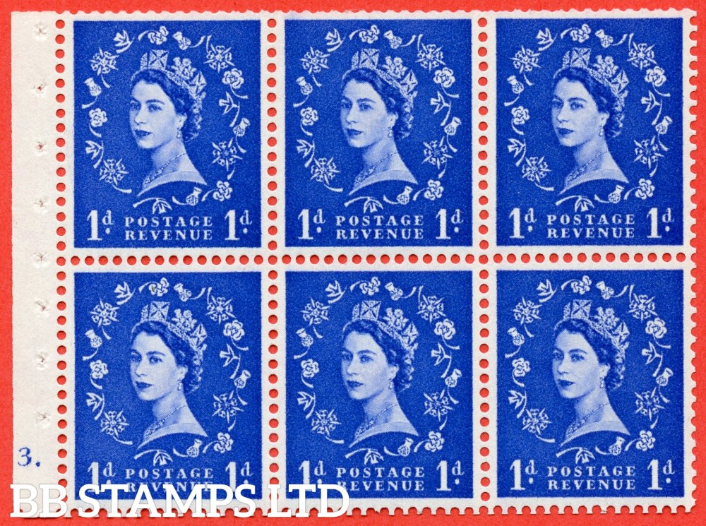 "SG. 571. SB30. 1d Ultramarine. A fine mounted mint cylinder "" F3 dot "" booklet pane of 6. Perf type (Ieb) with TRIMMED PERFS. Smooth edge Cream paper."