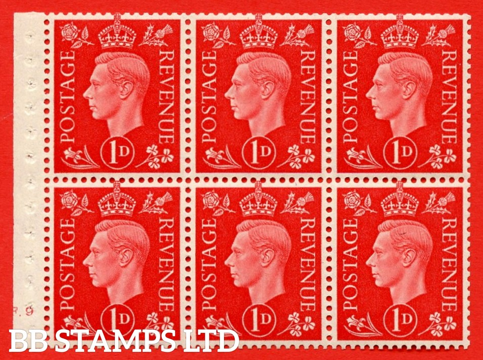 SG. QB10 Perf Type B3(I) 1d Scarlet x 6 Pane, UNMOUNTED MINT Watermark Upright. Cylinder Pane F9 no dot ( SG. 463b ) Perf Type B3(I). Good Perfs.