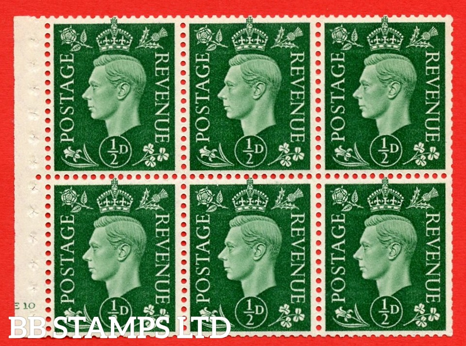 SG. QB1 Perf Type B4(E). ½d Green x 6 Pane, MOUNTED MINT Watermark Upright. Cylinder Pane E10 no dot ( SG. 462b ) Perf Type B4(E). Trimmed Perfs.