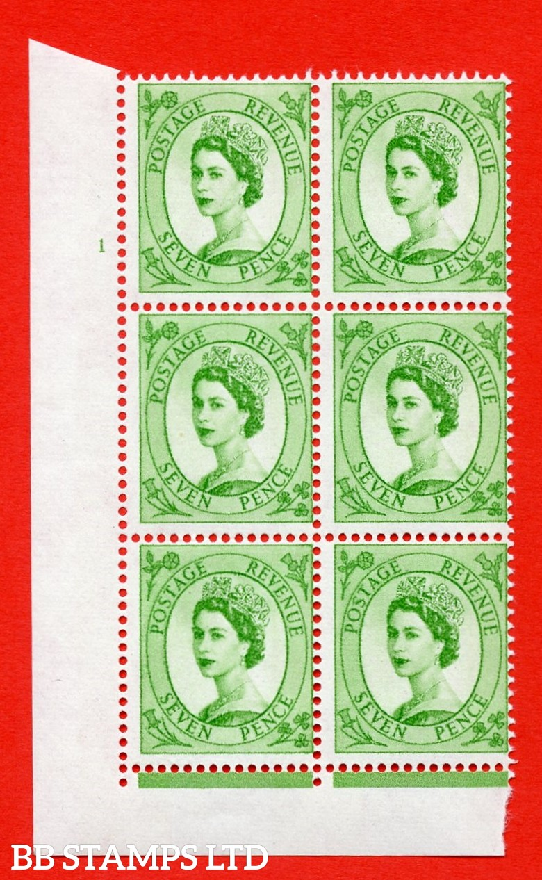 "SG.617a. S118. 7d Bright Green. A superb UNMOUNTED MINT "" cylinder 1 no dot "" control block of 6 with perf type FL (I/E). violet Phosphor 9½mm Band."