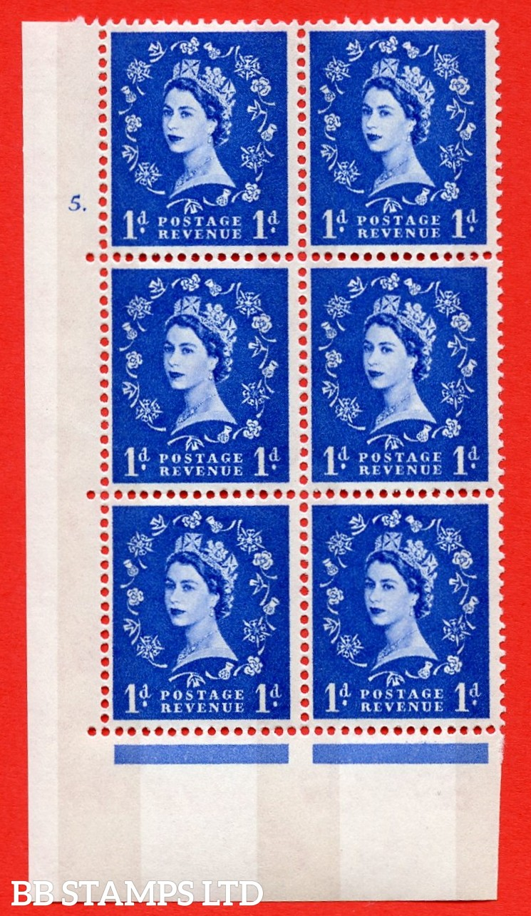 "SG.611. S23b. 1d Ultramarine. Photo. A superb UNMOUNTED MINT "" cylinder 5 dot "" control block of 6 with perf type A (E/I). violet Phosphor 8mm Band."
