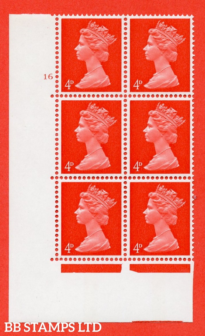 "SG. 733. U14. 4d bright vermilion  A superb UNMOUNTED MINT "" cylinder 16 no dot "" control block of 6 with perf type A E/I. PVA gum. Head A."