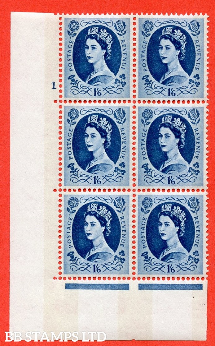 "SG.618a. S154. 1/6d Grey Blue. A fine mounted mint "" cylinder 1 no dot "" control block of 6 with perf type A (E/I). violet Phosphor 9½mm Band"