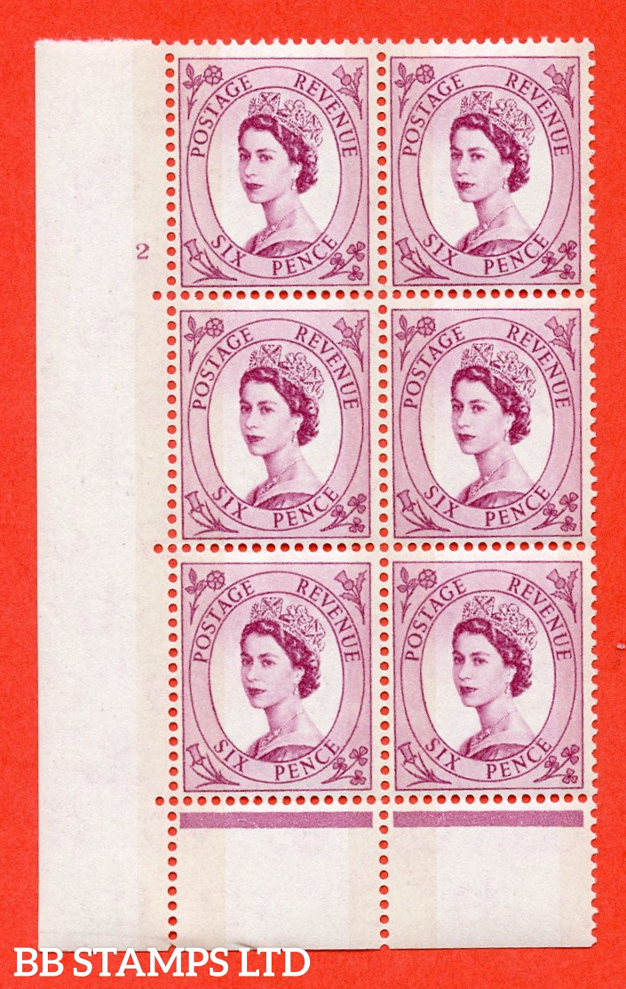 """SG. 617. S109. 6d Deep claret. A fine mounted mint  """" cylinder 2 no dot """" control block of 6 with perf type C (E/P). Green Phosphor."""