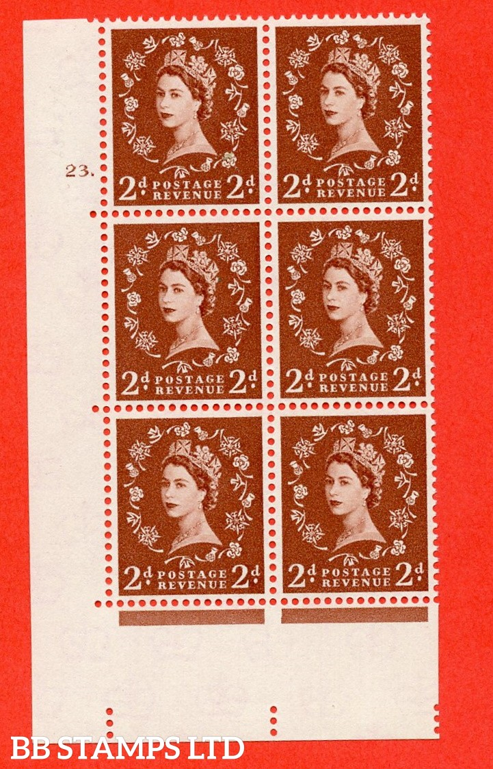 "SG. 573. S40. 2d light red brown . A superb UNMOUNTED MINT "" cylinder 23 dot "" control block of 6 with perf type A E/I. CREAM paper."