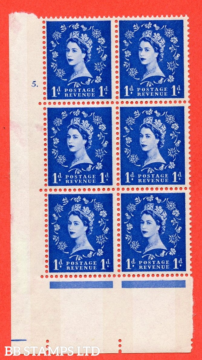"""SG.611. S23b. 1d Ultramarine. Photo. A fine mounted mint """" cylinder 5 dot """" control block of 6 with perf type A (E/I). violet Phosphor 8mm Band."""