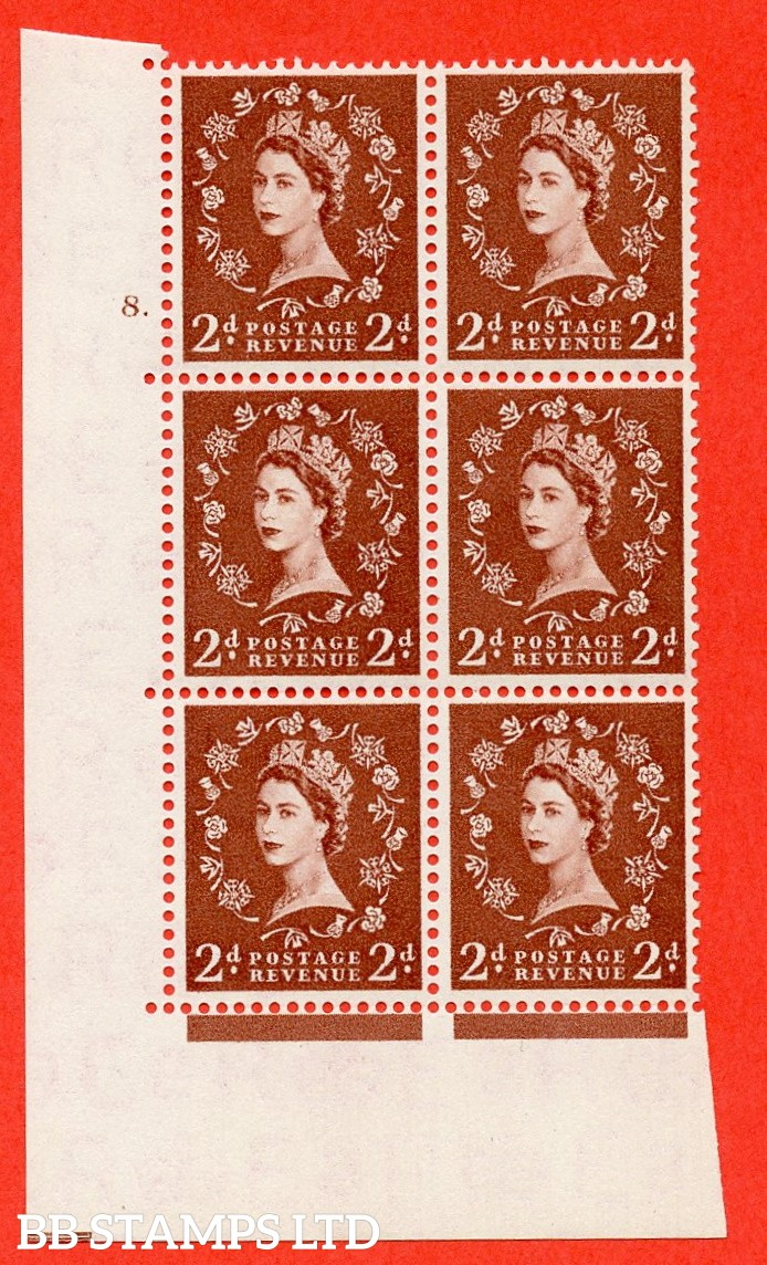 "SG. 543b. S38. 2d. Light Red-brown. A superb UNMOUNTED MINT "" cylinder 8 dot "" control block of 6 with perf type A E/I."
