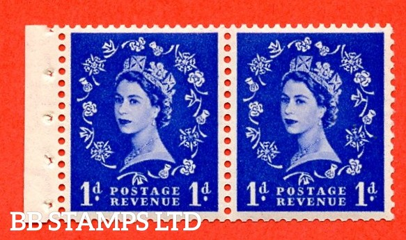SG. 516. SB22. 1d Ultramarine. A fine UNMOUNTED MINT. Complete booklet pane of 2 with perf type E. Good perfs.