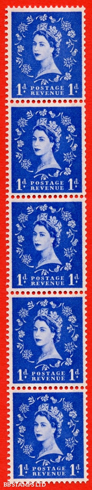 SG.611. S24var. 1d Ultramarine. A superb UNMOUNTED MINT example. Coil strip of 5. violet Phosphor 8mm Band. With a spot on thistle head ERROR. Unlisted in SG catalogue Variety.