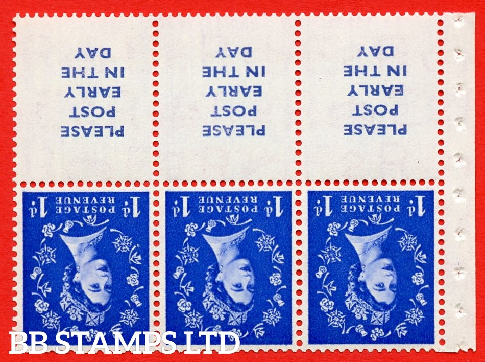 SG. 516Lawi. SB24Aa. 1d ultramarine Modified setting. A fine UNMOUNTED MINT. WATERMARK INVERTED. Complete booklet pane of 6. Perf type (Iet) with Good PERFS.