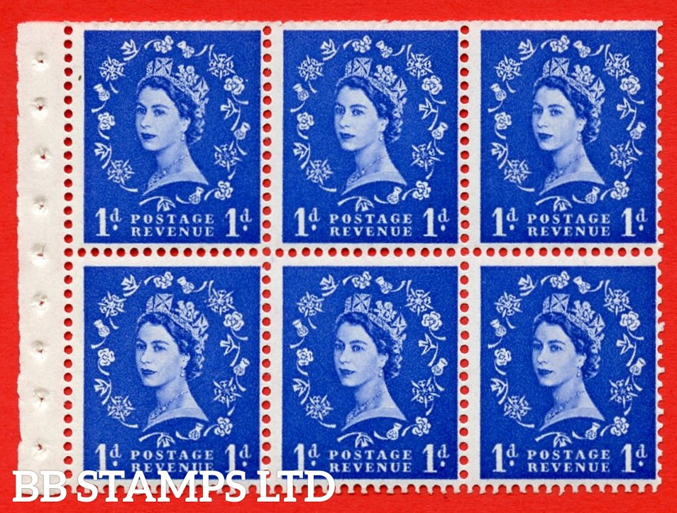 SG. 516L. SB20. 1d ultramarine. A fine UNMOUNTED MINT example. Complete Booklet pane of 6. Perf Type IR. Trimmed Perfs.