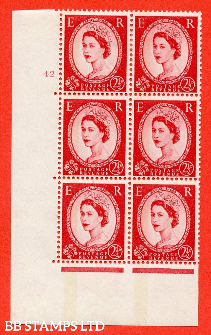 "SG.614b. S64. 2½d Carmine red. Letterpress A fine mounted mint "" cylinder 42 no dot "" control block of 6 with perf type A (E/I). Blue Phosphor Cream paper."
