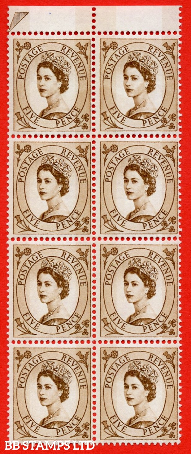 "SG.616c. S103a. 5d Deep Brown. A superb UNMOUNTED MINT example. Top marginal positional block of 8. From cylinder 1. violet Phosphor 9½mm Band. With a spot by ""E"" of ""POSTAGE"" ERROR. R.4/8 variety."