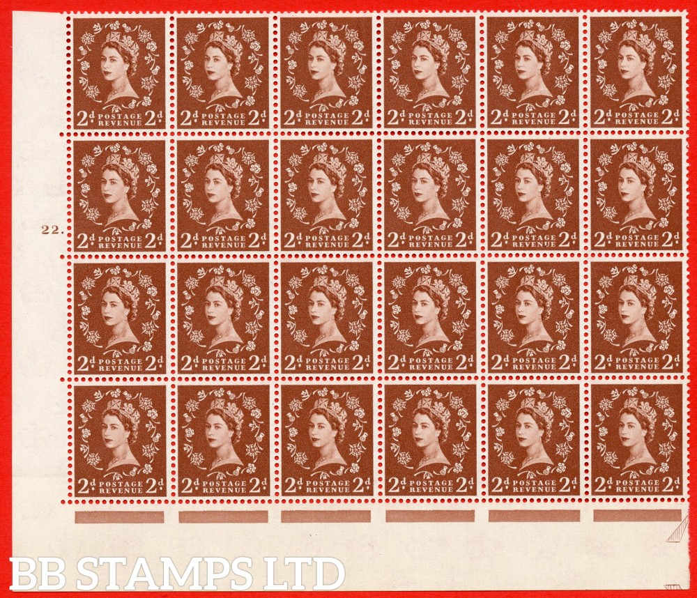 SG. 573. S40d. 2d light red brown . A superb UNMOUNTED MINT example. Bolck of 24 from cylinder 22 dot. Cream paper. With a Tadpole retouch ERROR. R.17/6