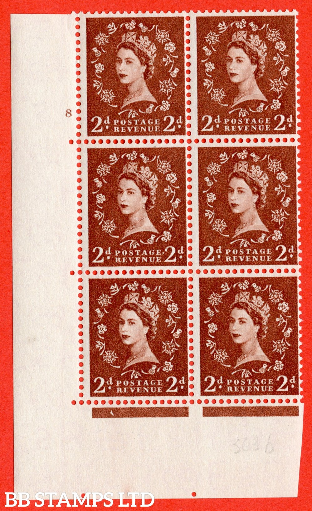 "SG. 543b. S38. 2d. Light Red-brown. A superb UNMOUNTED MINT "" cylinder 8 no dot "" control block of 6 with perf type A E/I."