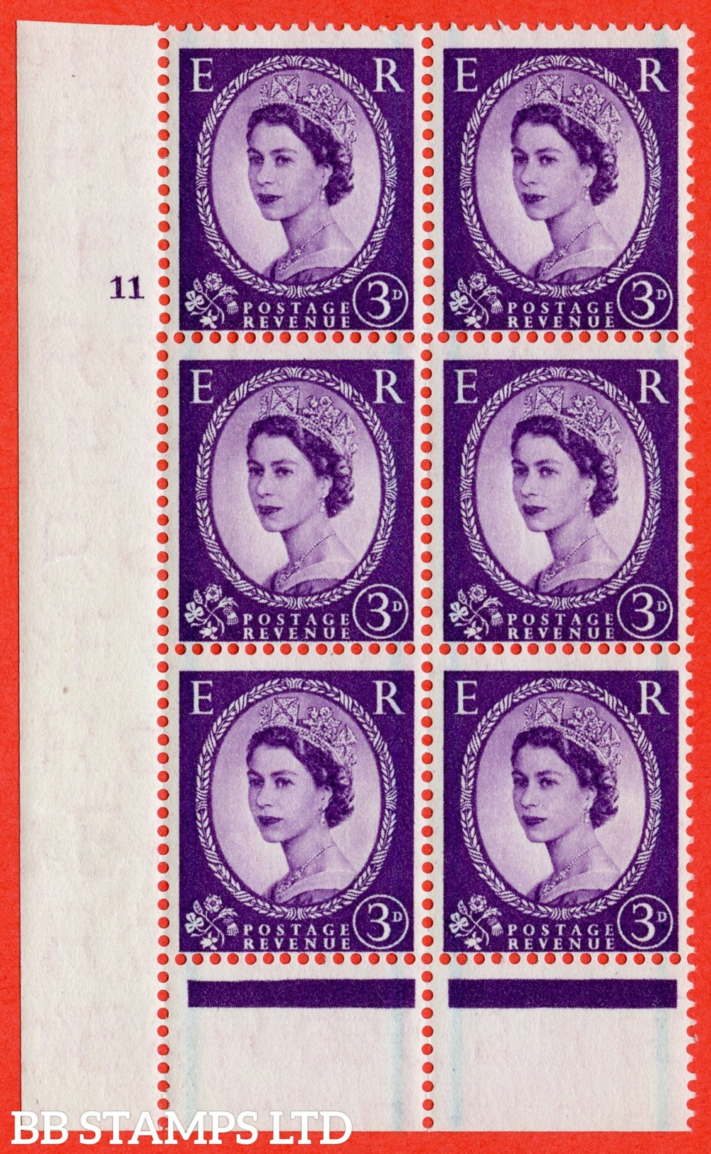 "SG. 566. S69. 3d Deep Lilac. A superb UNMOUNTED MINT"" cylinder 11 no dot "" control block of 6 with perf type B I/P."