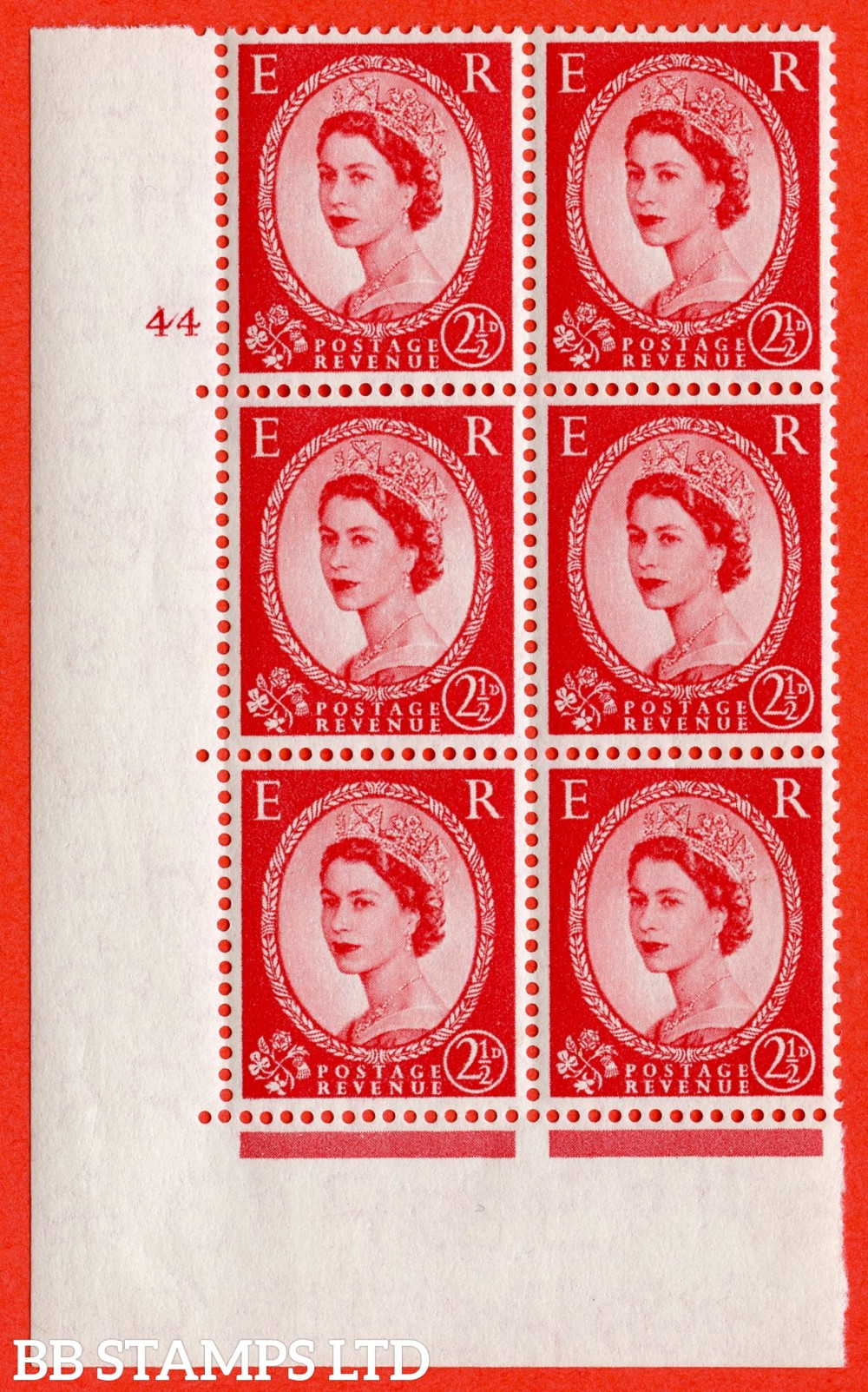 "SG. 544. S52. 2½d. Carmine - Red. A superb UNMOUNTED MINT "" cylinder 44 no dot "" control block of 6 with perf type A E/I."