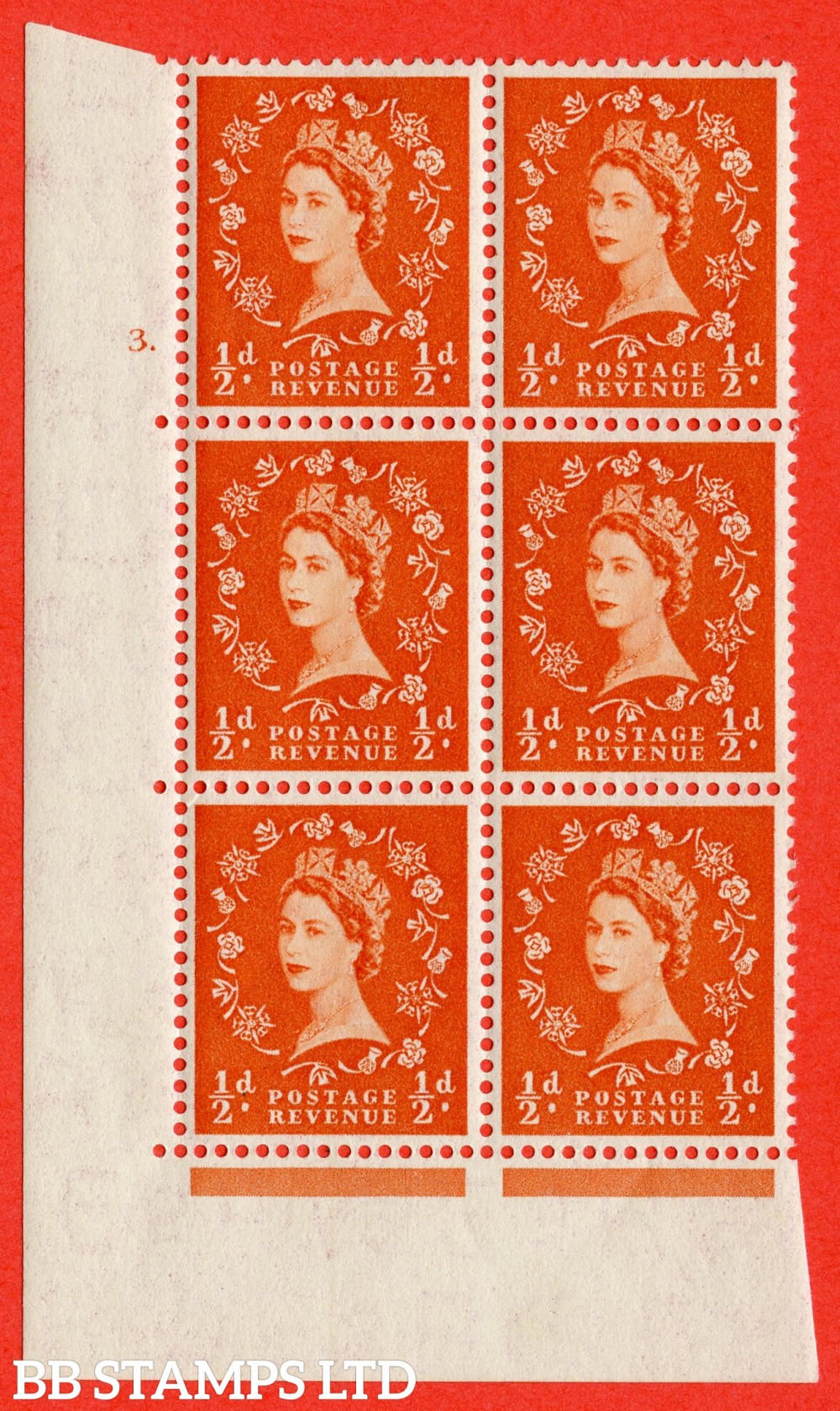 "SG. 540. S2. ½d. Orange-red. A superb UNMOUNTED MINT "" cylinder 3 dot "" control block of 6 with perf type A E/I"