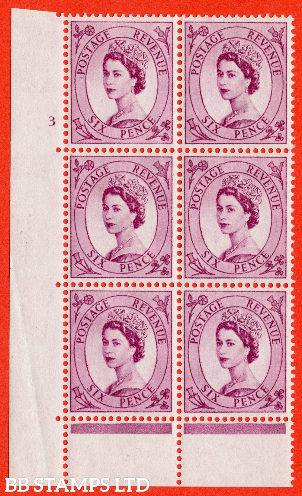 "SG. 548. S105. 6d. Reddish Purple. A superb UNMOUNTED MINT "" cylinder 3 no dot ( UNLISTED ) "" control block of 6 with perf type C E/P."