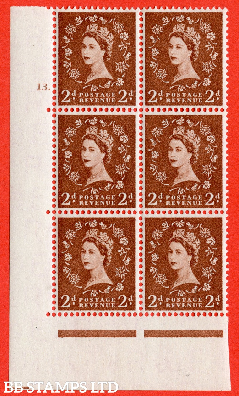 "SG. 543b. S38. 2d. Light Red-brown. A fine lightly mounted mint "" cylinder 13 dot "" control block of 6 with perf type A E/I."