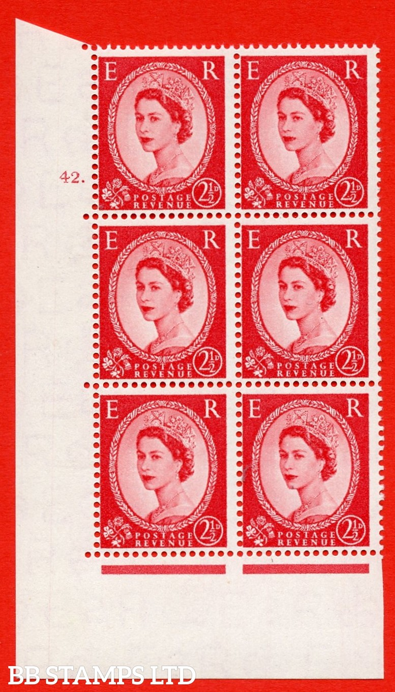"SG. 544. S52. 2½d. Carmine - Red. A superb UNMOUNTED MINT "" cylinder 42 dot "" control block of 6 with perf type A E/I."