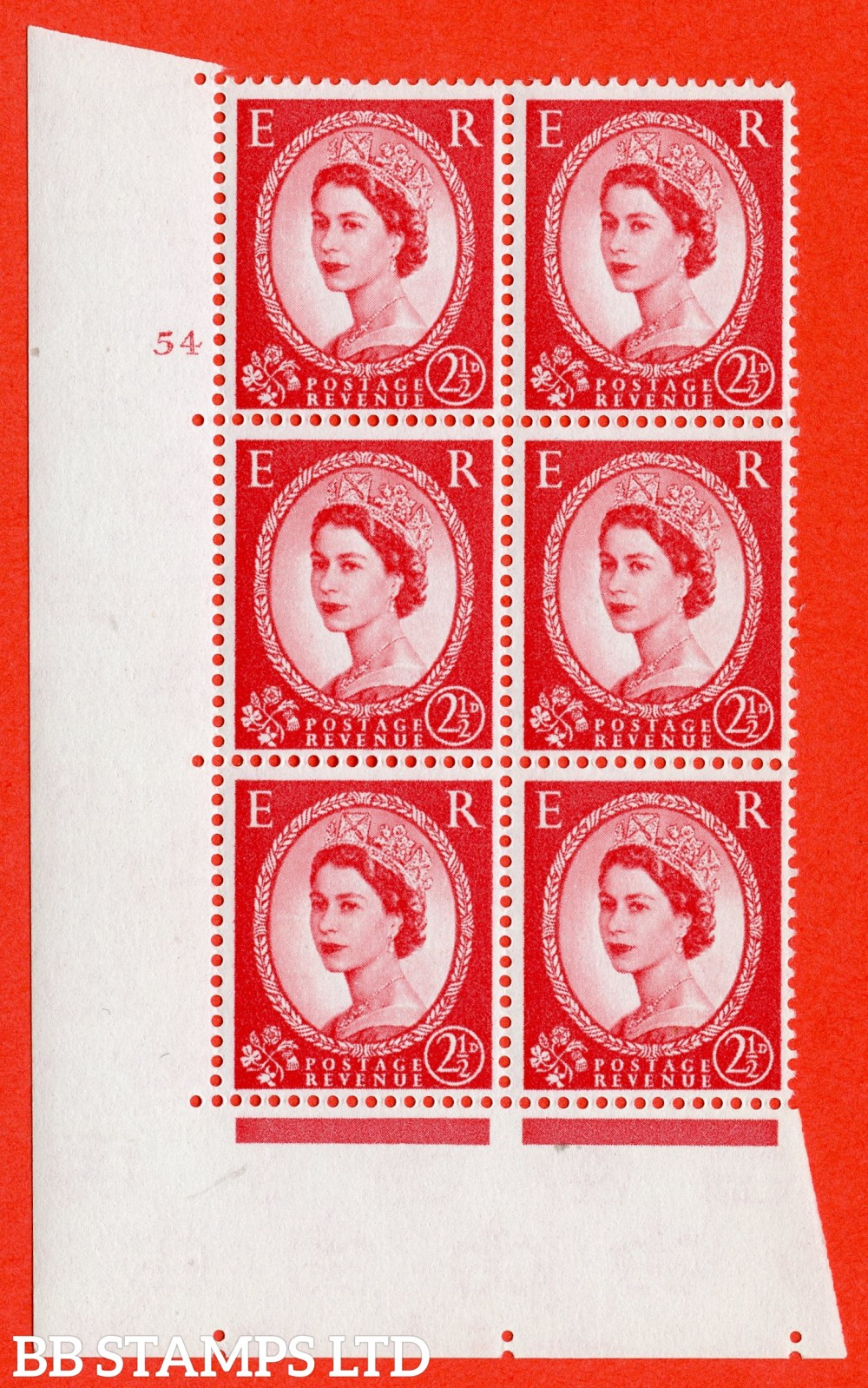 "SG. 574. S57. 2½d Carmine - red.Type II. A superb UNMOUNTED MINT "" cylinder 54 no dot "" control block of 6 with perf type A E/I. WHITE paper."