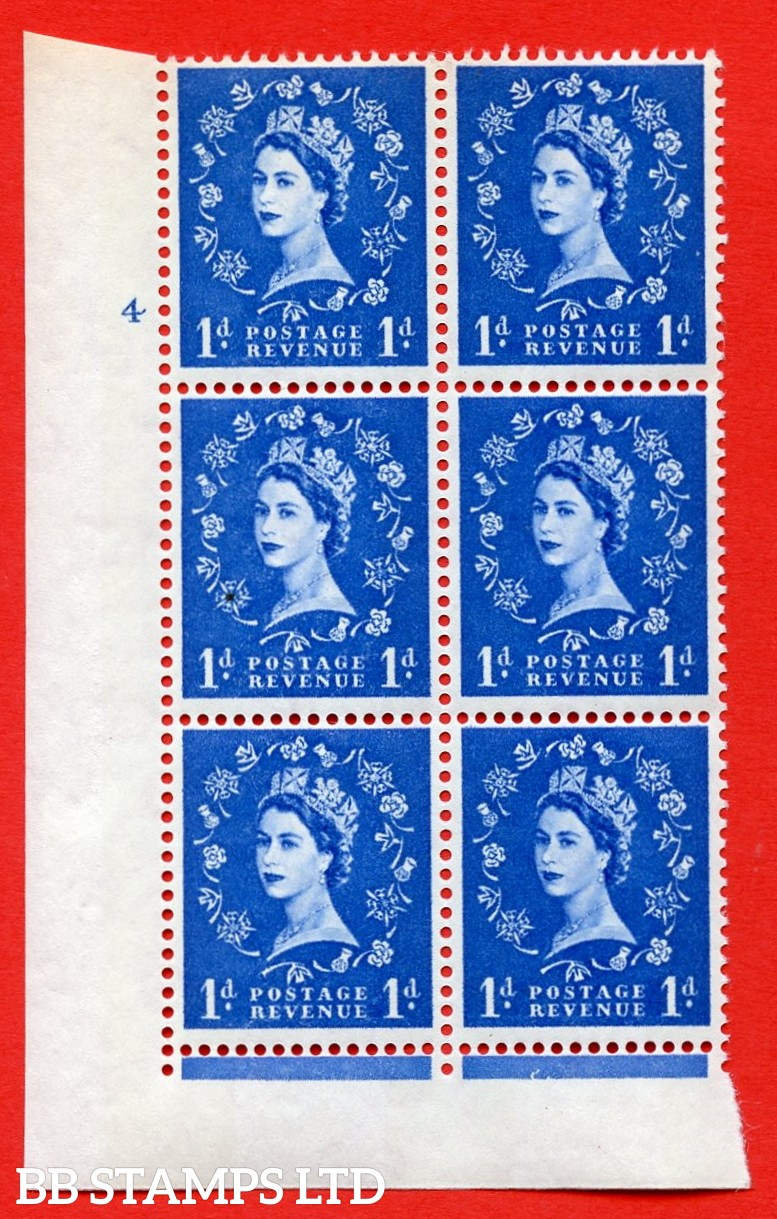 "SG.611. S24. 1d Ultramarine. A superb UNMOUNTED MINT "" cylinder 4 no dot "" control block of 6 with perf type Fl (I/E). violet Phosphor 9½mm Band."