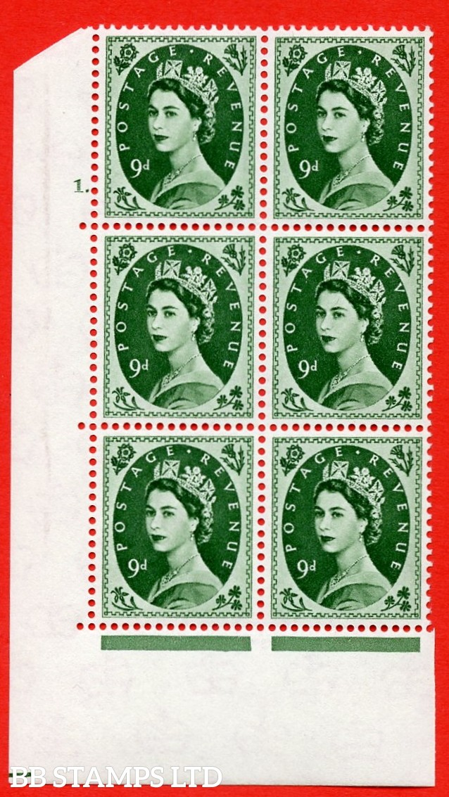 """SG S126. 9d Bronze Green  A superb UNMOUNTED MINT """" cylinder 1 dot """" control block of 6 with perf type A (E/I)."""