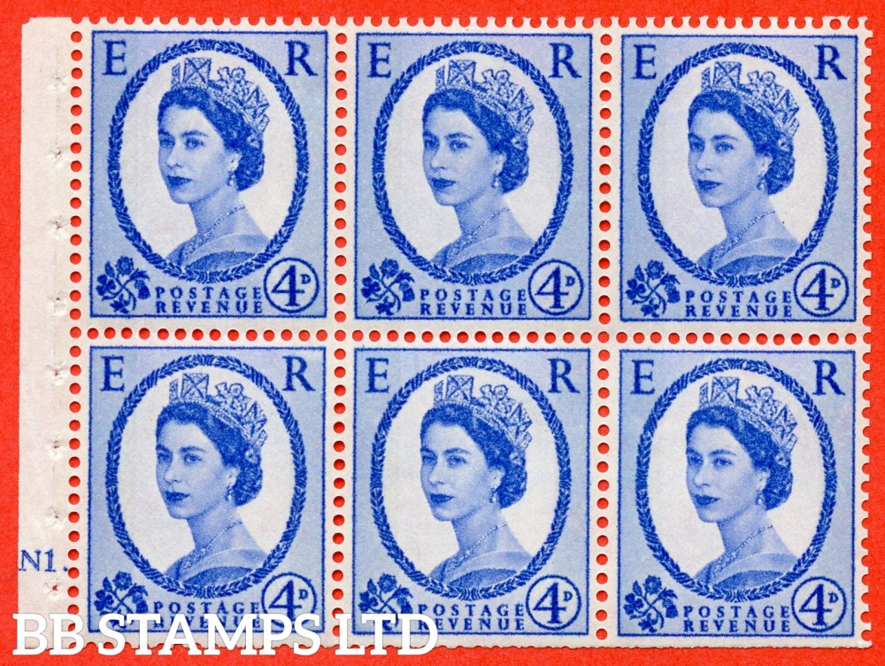 "SG. 616. SB107. 4d Ultramarine. A fine UNMOUNTED MINT cylinder "" N1 dot "" booklet pane of 6. Perf type (Iet) with TRIMMED PERFS. Smooth edge. White Paper."