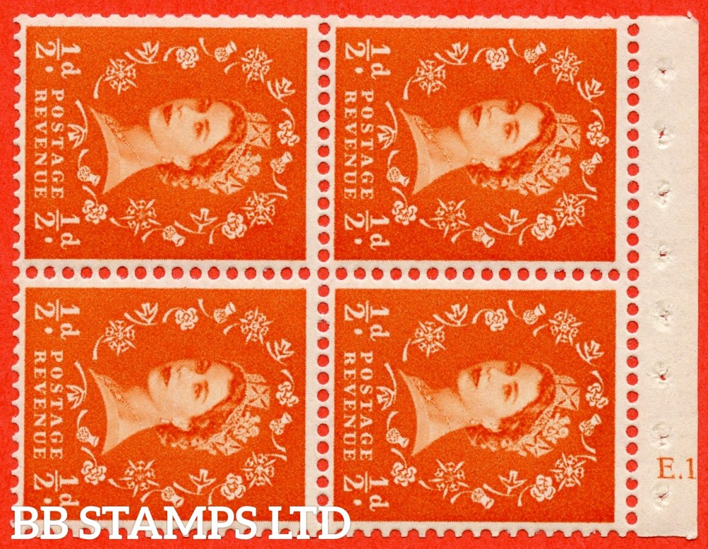 "SG. 570. SB11. ½d Orange Red. A fine UNMOUNTED MINT cylinder "" E.13  no dot "" booklet pane of 4. Perf type (I) with GOOD PERFS. Smooth edge. White paper."