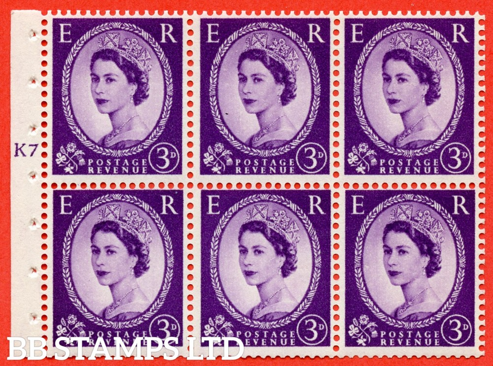 "SG. 545. SB90. 3d Deep Lilac. A fine UNMOUNTED MINT cylinder "" K7 T no dot "" booklet pane of 6. Perf type (I) with GOOD PERFS. Smooth edge."