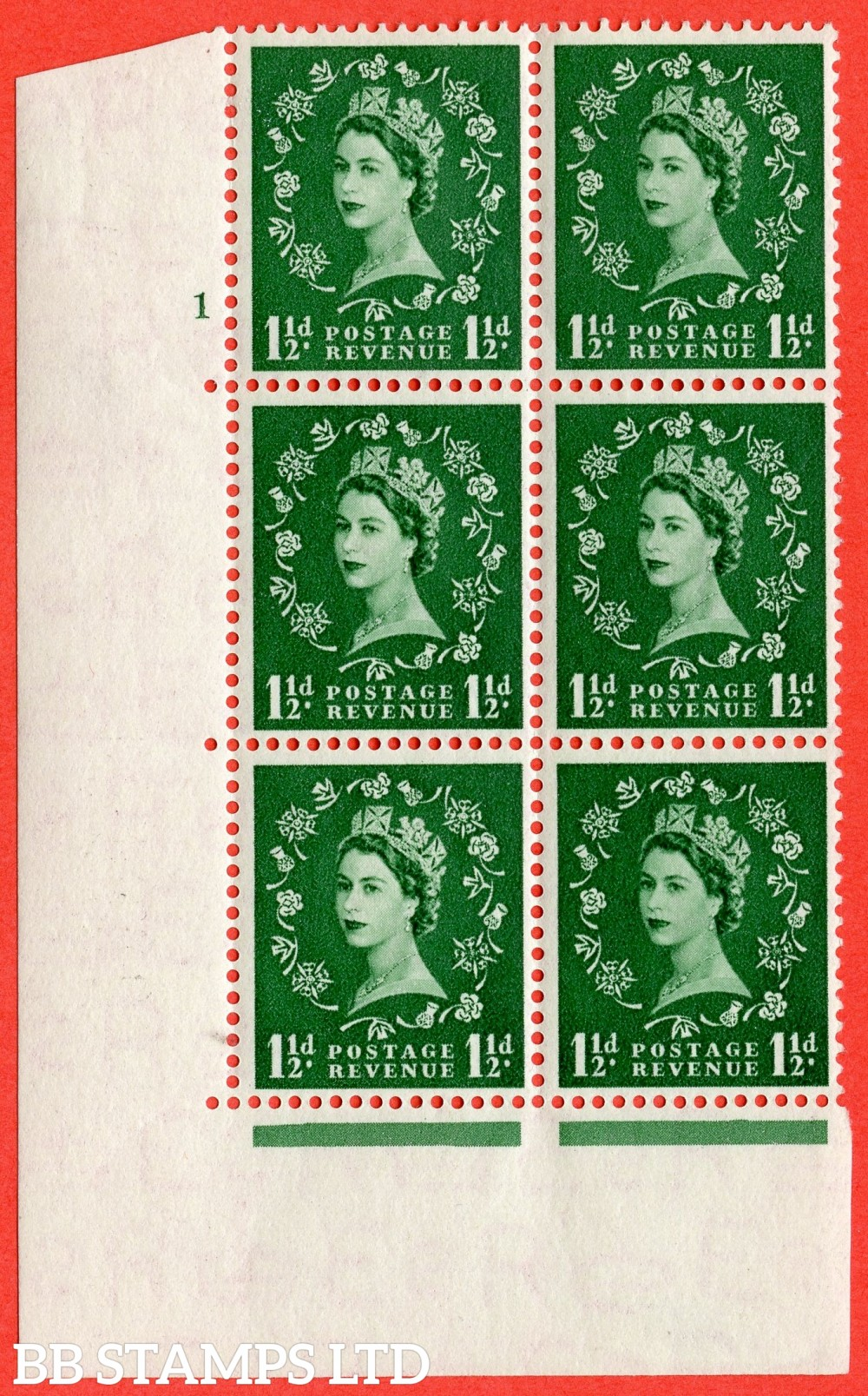 "SG. 517. S25. 1½d Green. A superb UNMOUNTED MINT. "" cylinder 1 no dot "" control block of 6 with perf type A E/I."