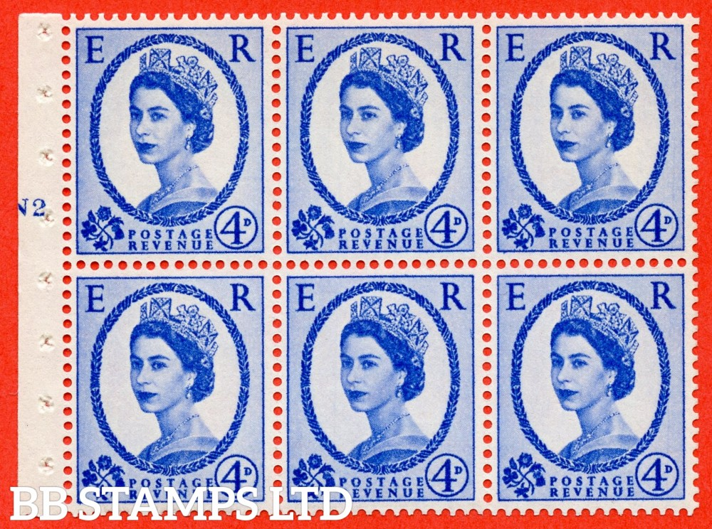 "SG. 576a. SB105f. 4d Deep Ultramarine. A fine UNMOUNTED MINT cylinder "" N2 T no dot "" booklet pane of 6. Perf type (I) with GOOD PERFS. Smooth edge. White paper. With listed variety "" Y Flaw "" Row 2/2."