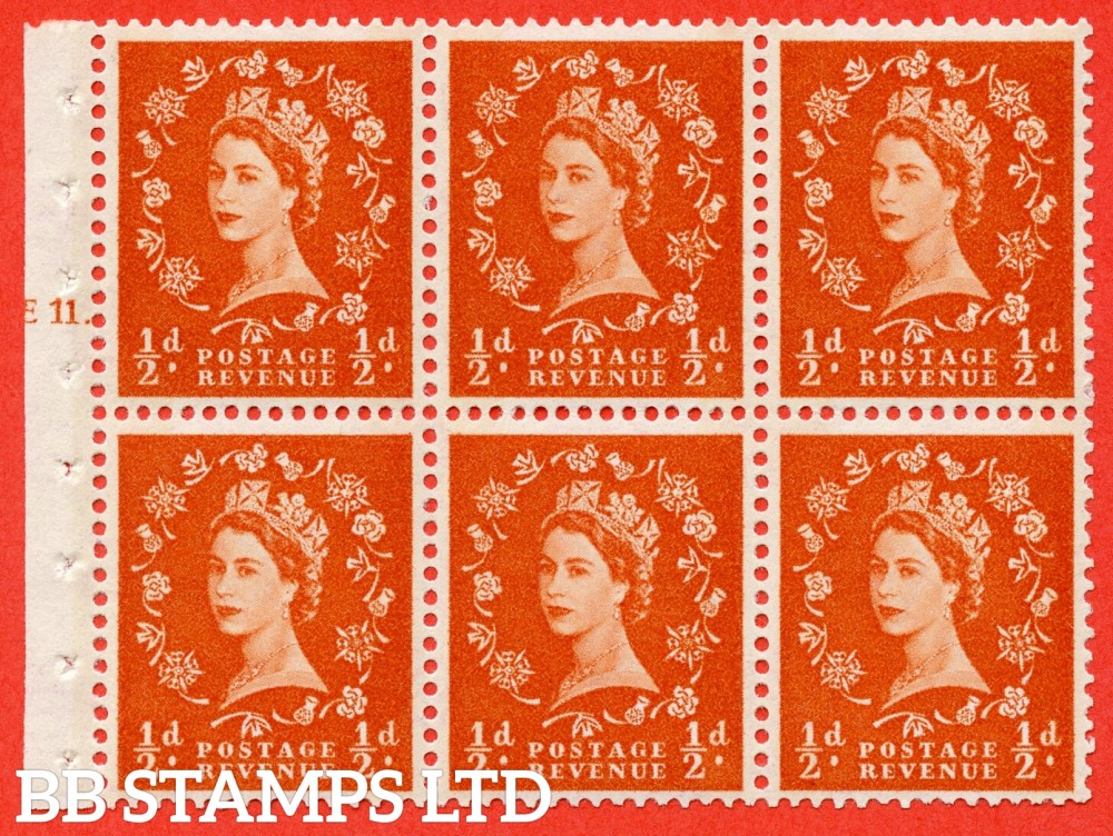 "SG. 610. SB15. ½d Orange Red. A fine UNMOUNTED MINT cylinder "" E11 T dot "" booklet pane of 6. Perf type (Iet) with GOOD PERFS. Smooth edge."
