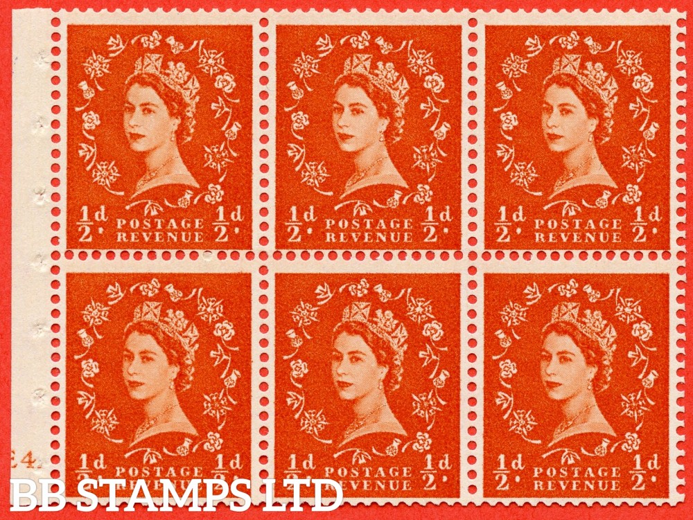 "SG. 570. SB7. ½d orange - red. A fine mounted mint cylinder "" E4 erroneous dot - no dot "" booklet pane of 6. Perf type (I) with TRIMMED PERFS. Smooth edge."