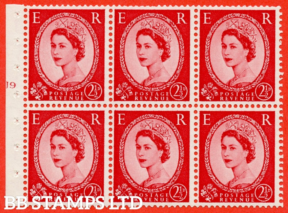 "SG. 544b. SB81. 2½d carmine - red. A fine mounted mint "" J9 T no dot "" booklet pane of 6. Perf type (I) with TRIMMED PERFS. Smooth edge."