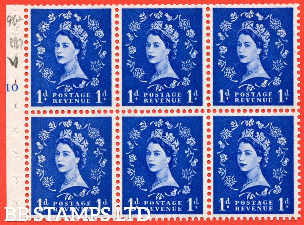 "SG. 611. SB54. 1d Ultramarine. A fine UNMOUNTED MINT cylinder "" F10 T no dot "" booklet pane of 6. Perf type (I) with GOOD PERFS. Smooth edge."