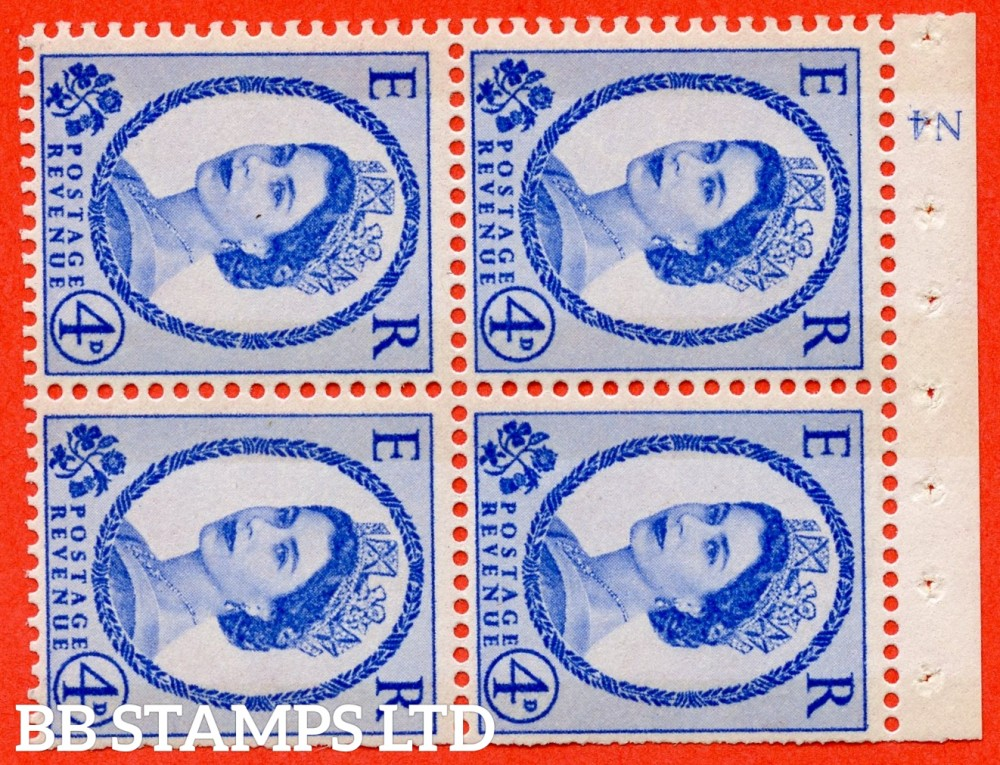 "SG. 616a. SB110. 4d Deep Ultramarine. A fine UNMOUNTED MINT cylinder "" N4 ( Wmk left ) no dot "" booklet pane of 4. Perf type (I) with TRIMMED PERFS. Smooth edge. White Paper."